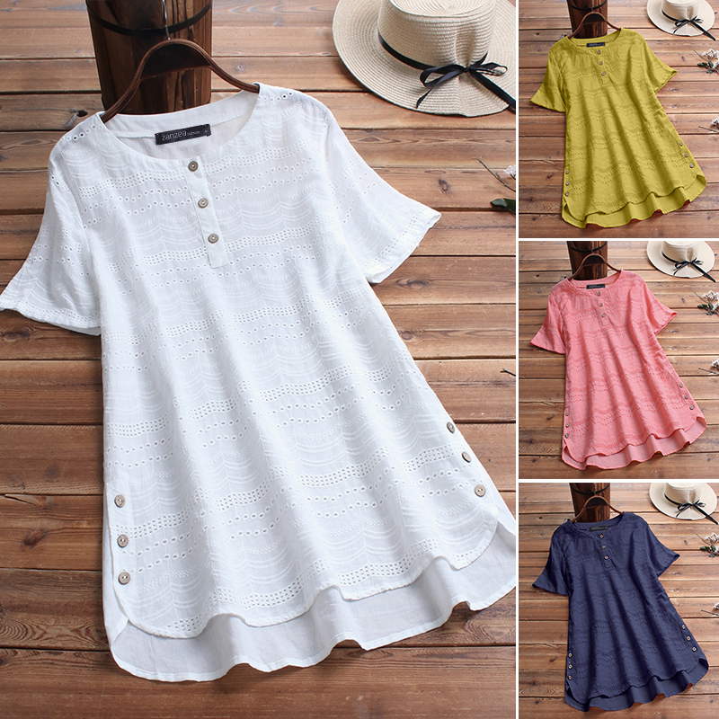 ZANZEA-8-24-Women-Button-Up-Short-Sleeve-Top-Tee-T-Shirt-Eyelets-Cotton-Blouse thumbnail 4