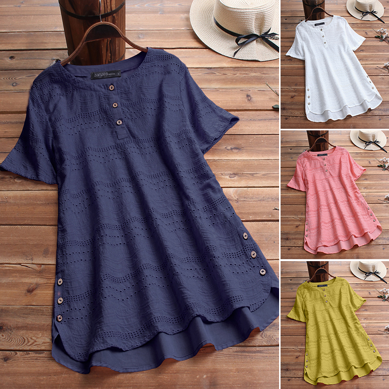 ZANZEA-8-24-Women-Button-Up-Short-Sleeve-Top-Tee-T-Shirt-Eyelets-Cotton-Blouse thumbnail 2