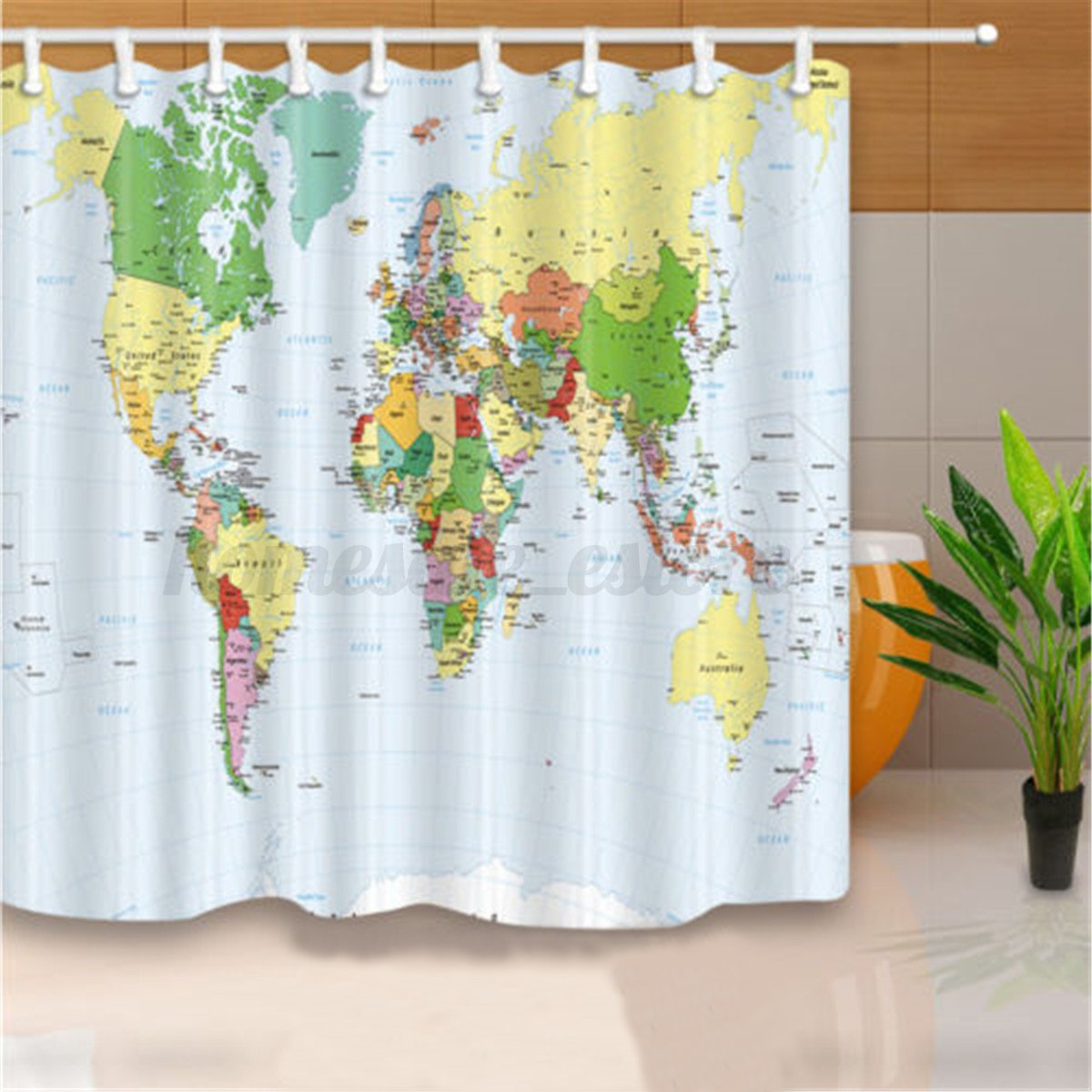 Details About 180x180cm Polyester World Map Bathroom Bath Waterproof Fabric Shower Curtain Set