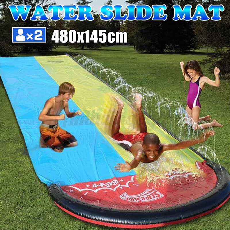 188x57inch Portable Inflatable Water Double Slide Racing Poo