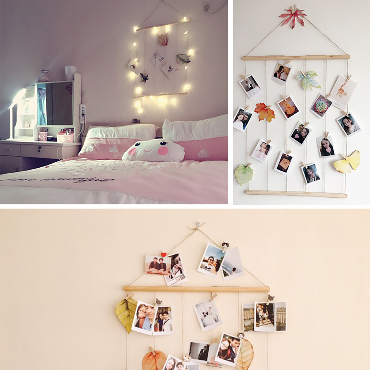 Details about DIY Hanging Display Frame Wall Art Photo Picture Album Rope  Clip Home Decor Wood