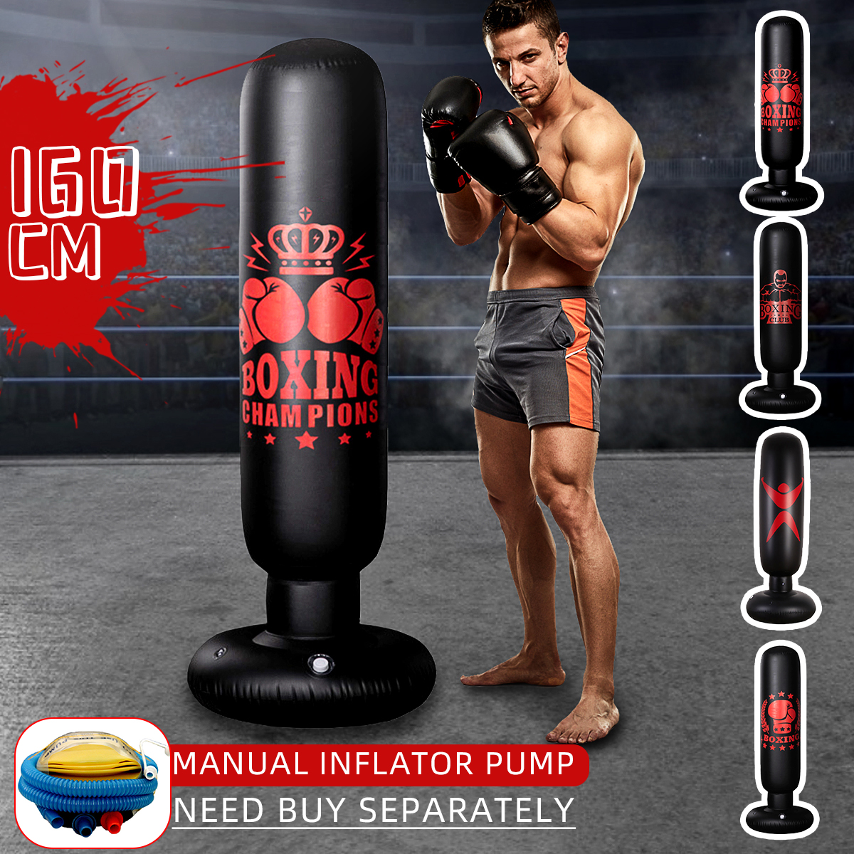 1.6M Free Standing Inflatable Boxing Punch Bag Kick MMA Adult Training Fitness