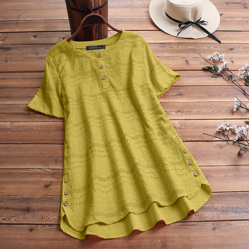 ZANZEA-8-24-Women-Button-Up-Short-Sleeve-Top-Tee-T-Shirt-Eyelets-Cotton-Blouse thumbnail 7