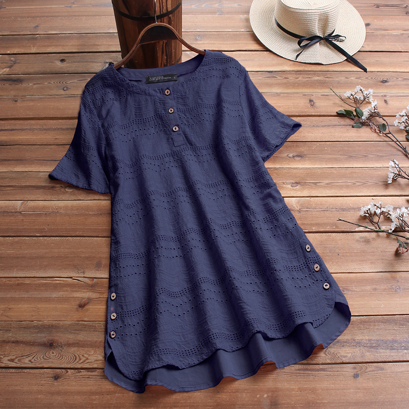 ZANZEA-8-24-Women-Button-Up-Short-Sleeve-Top-Tee-T-Shirt-Eyelets-Cotton-Blouse thumbnail 5