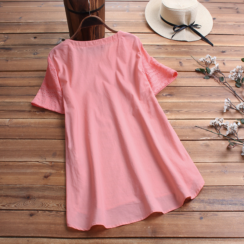 ZANZEA-8-24-Women-Button-Up-Short-Sleeve-Top-Tee-T-Shirt-Eyelets-Cotton-Blouse thumbnail 10