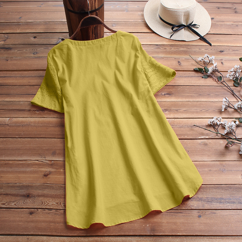 ZANZEA-8-24-Women-Button-Up-Short-Sleeve-Top-Tee-T-Shirt-Eyelets-Cotton-Blouse thumbnail 8