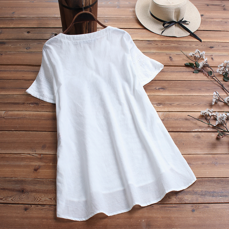 ZANZEA-8-24-Women-Button-Up-Short-Sleeve-Top-Tee-T-Shirt-Eyelets-Cotton-Blouse thumbnail 12