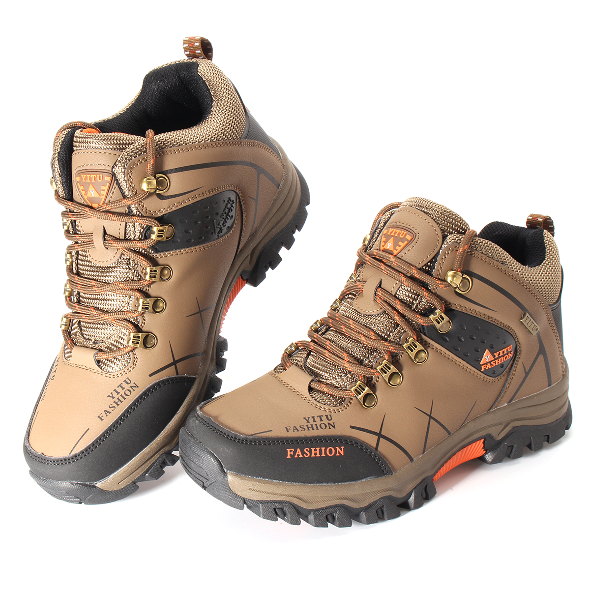 Mens Big Size Trail Hiking Boots Waterproof Athletic Outdoors Safety D Island Shoes Hikers Fashionable Brown Detail Image