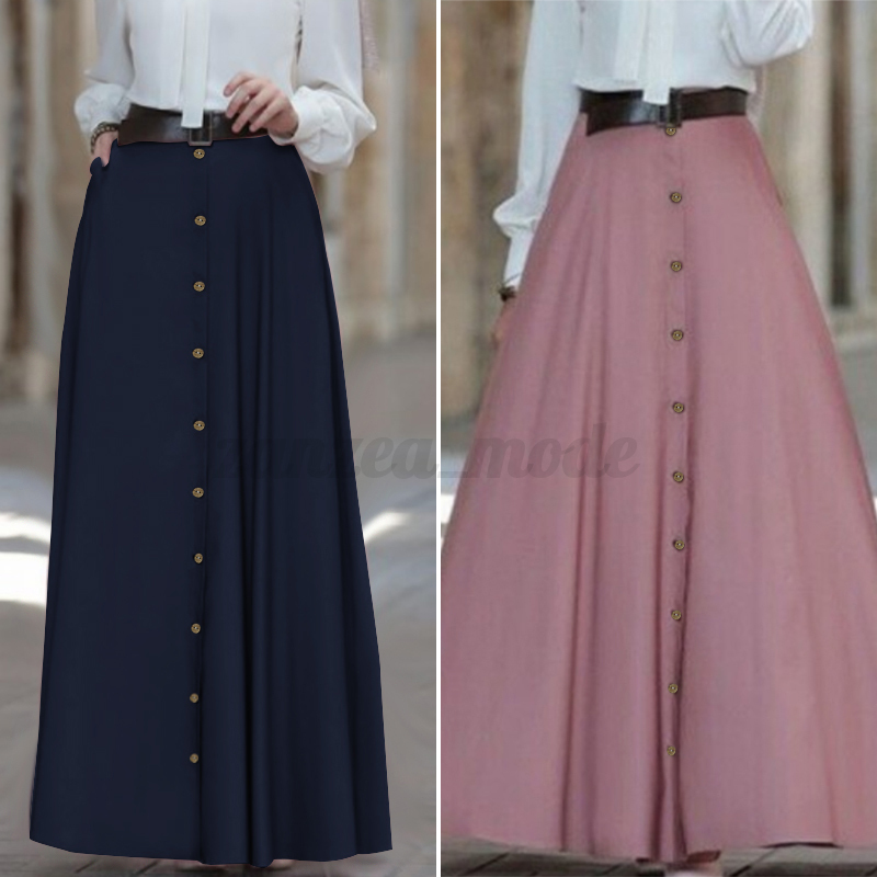 High Waist Long Skirt Women Vintage Loose Pleated A-Line Flared Maxi Skirts Loose Soild Color
