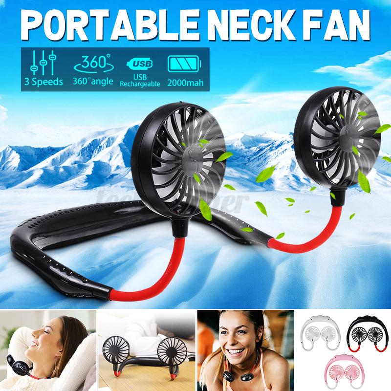 US Personal Mini Fan Portable Hanging Neck Sport Fan Lazy Ne
