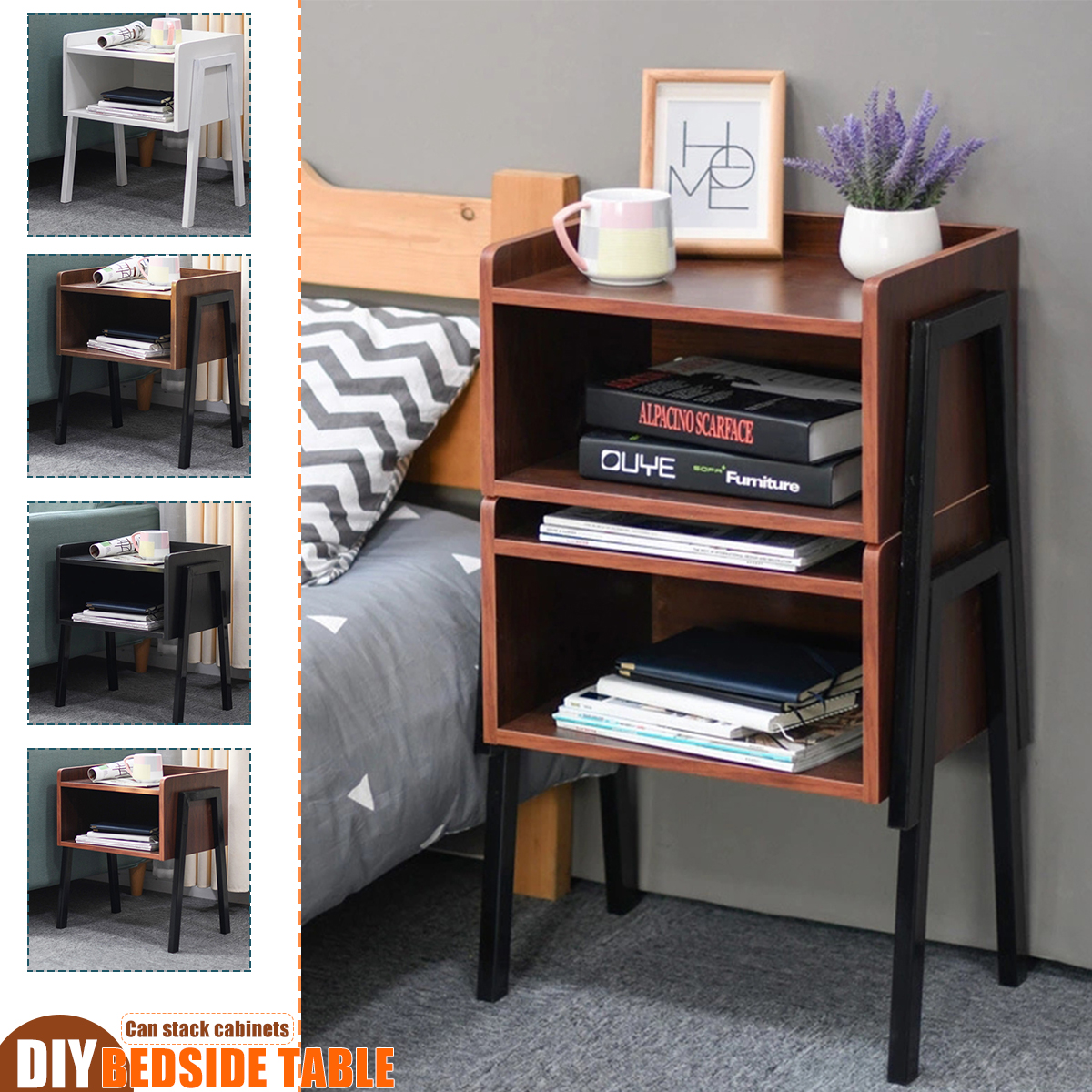 Bedside Table Industrial Nightstand Stackable End Table Retro Rustic Chic Tabl Ebay