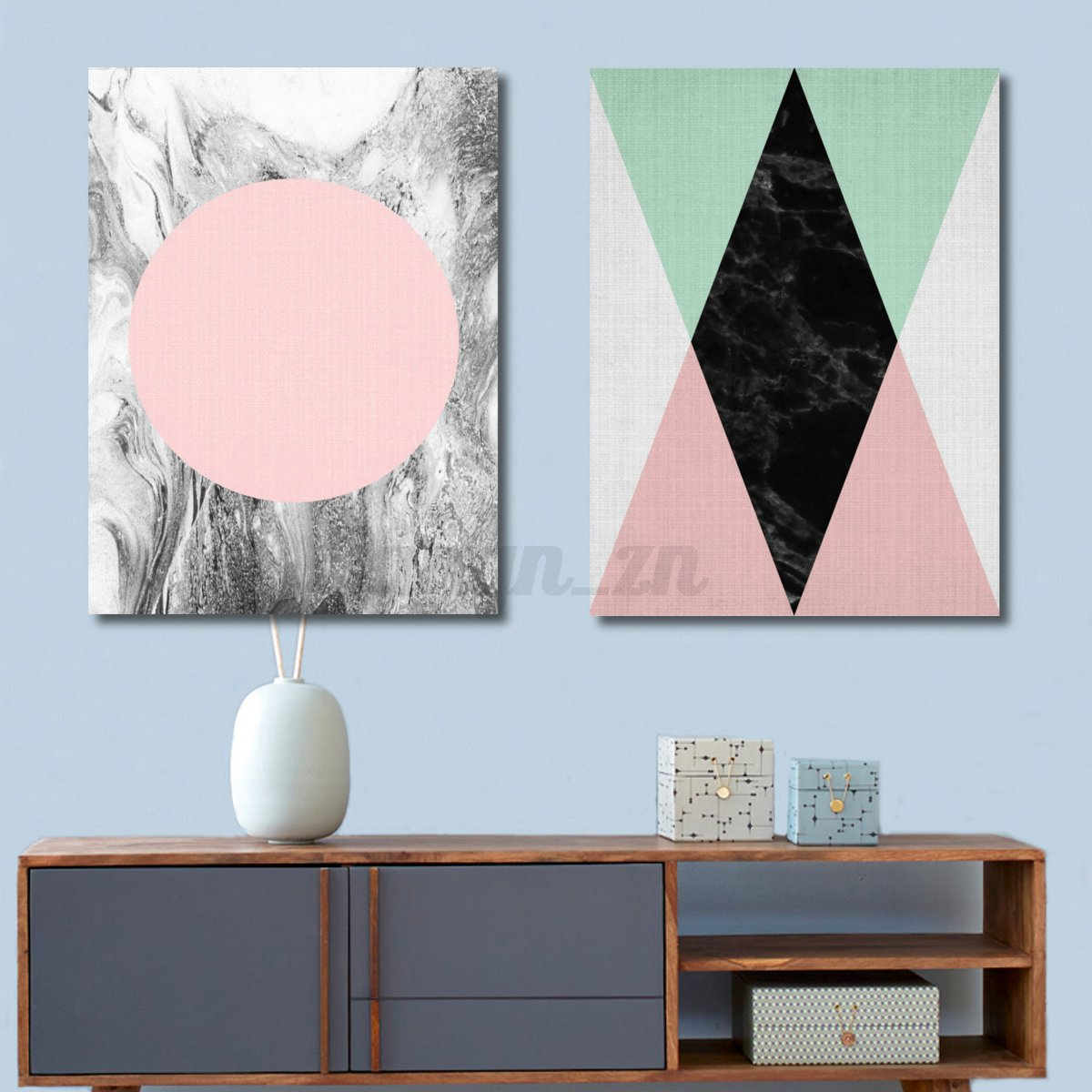 peinture l 39 huile tableau g om trique cerf sur toile sans cadre maison murale ebay. Black Bedroom Furniture Sets. Home Design Ideas