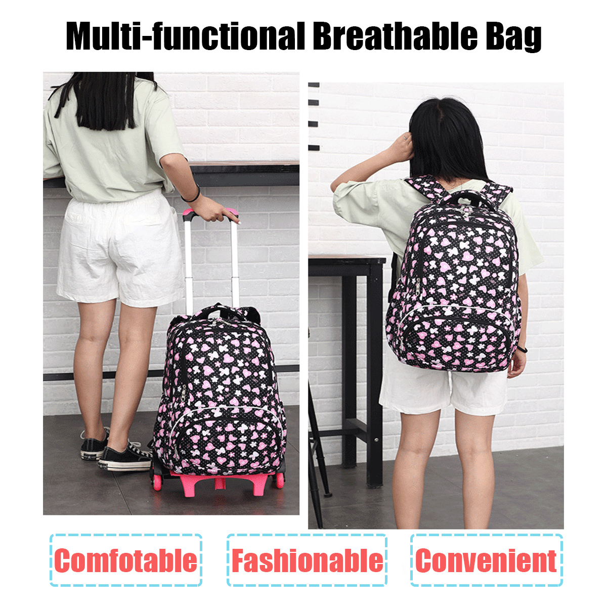 045010352e9f Details about 6 Wheels Removable Trolley Backpack Reflective Back To School  Bag Student Girl