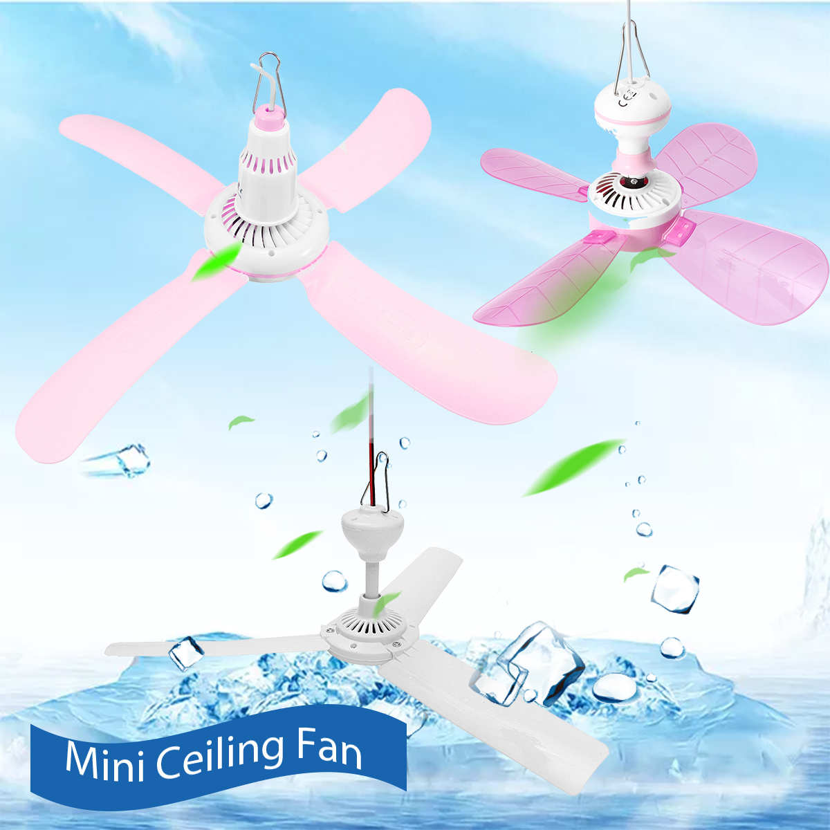 6-Tpyes-Mini-Ceiling-Fan-Portable-3-or-4-Blades-Hanging-Summer-Cooler-Gift