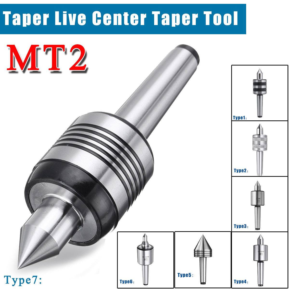 MT3 Morse Taper Live Center Wrench 7PC Interchangeable Points fit CNC lathesFast