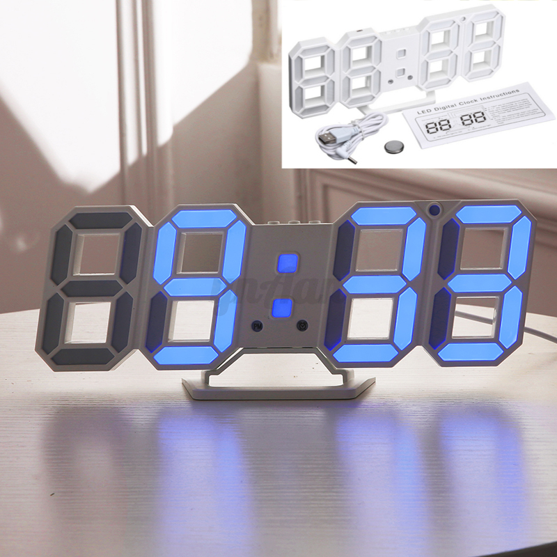 3d modern usb nacht wanduhr digital led alarm wecker uhr. Black Bedroom Furniture Sets. Home Design Ideas