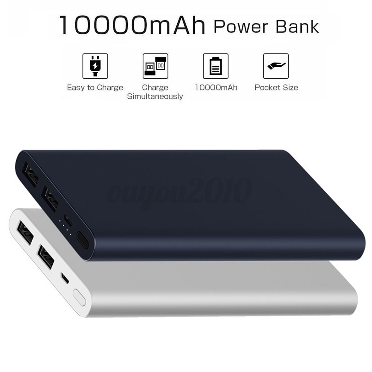 Original Xiaomi Powerbank Mi 2 10000mah Dual Usb Ladegert Power Bank Slim Fast Charge Fr Handy