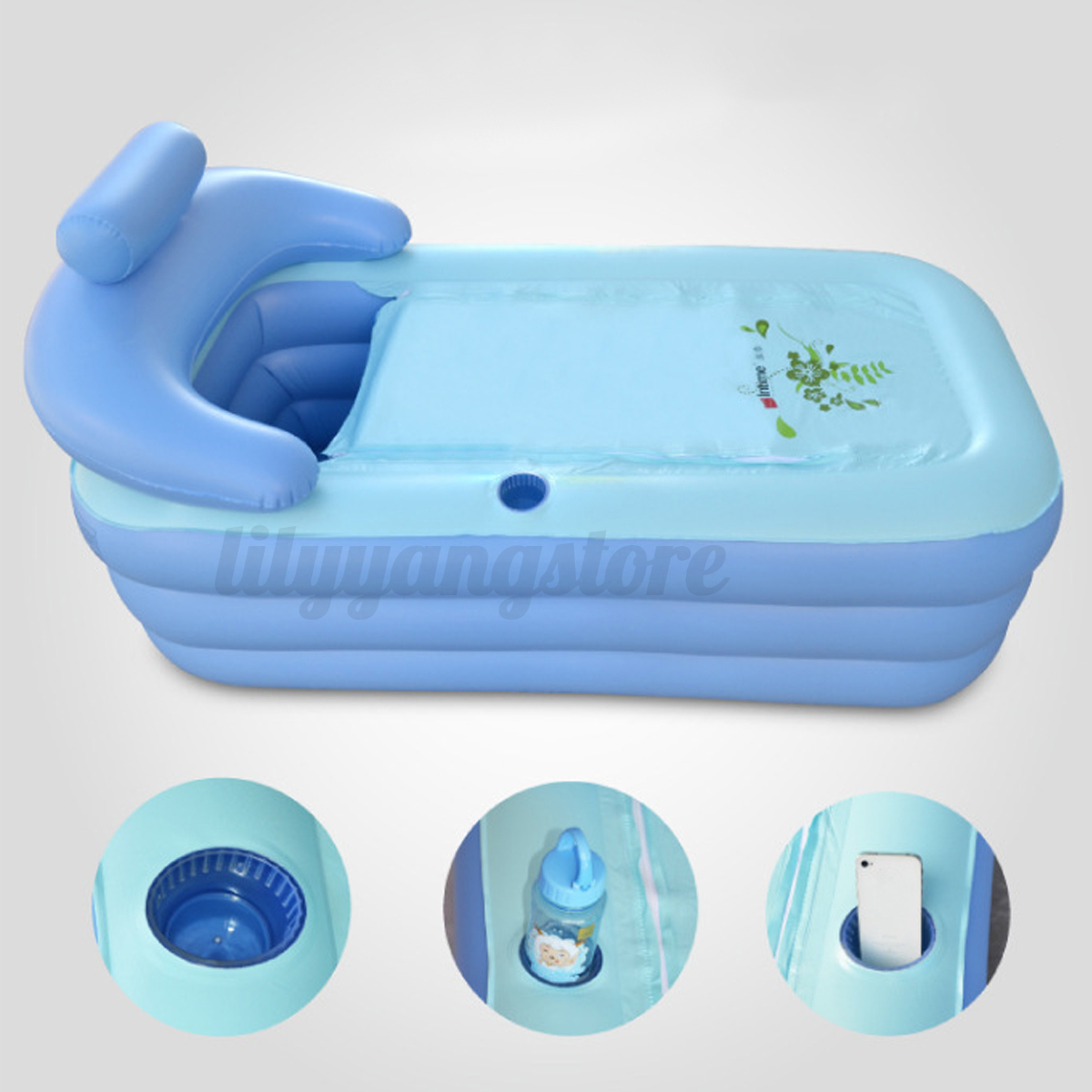 2Size Blowup Adult Spa PVC Folding Portable Bathtub Warm Inflatable ...