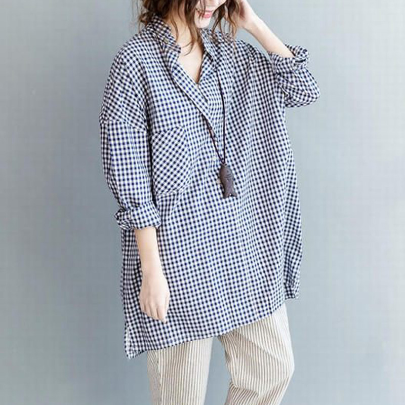 ZANZEA-Women-Casual-Pullover-Tunic-Blouse-Shirt-Baggy-Oversized-Plaid-Check-Top