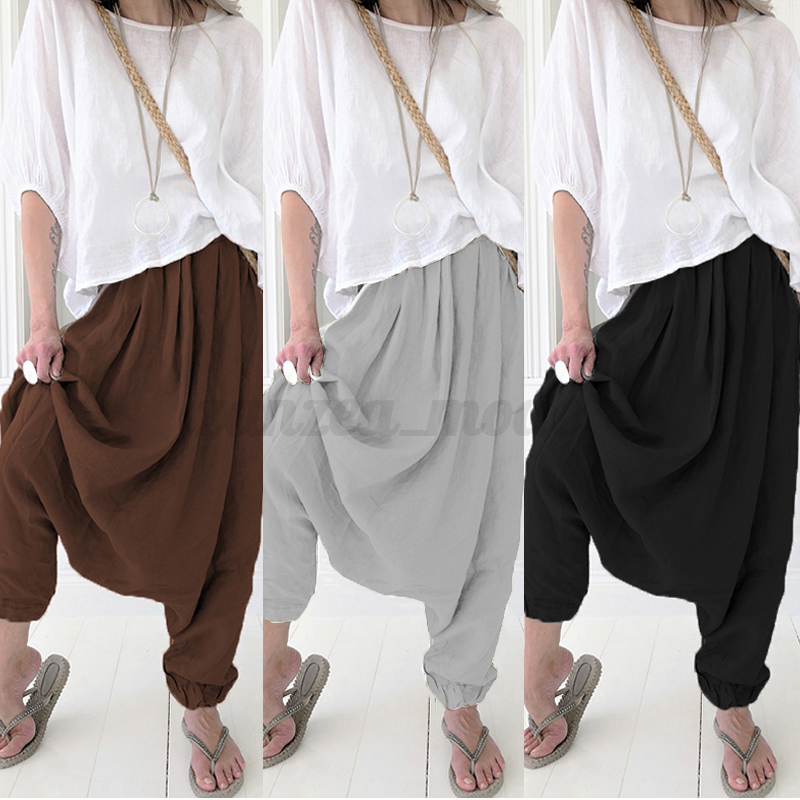 Mode-Femme-Pantalon-Simple-Couleur-Unie-Casual-en-vrac-100-coton-Simple-Plus miniature 2