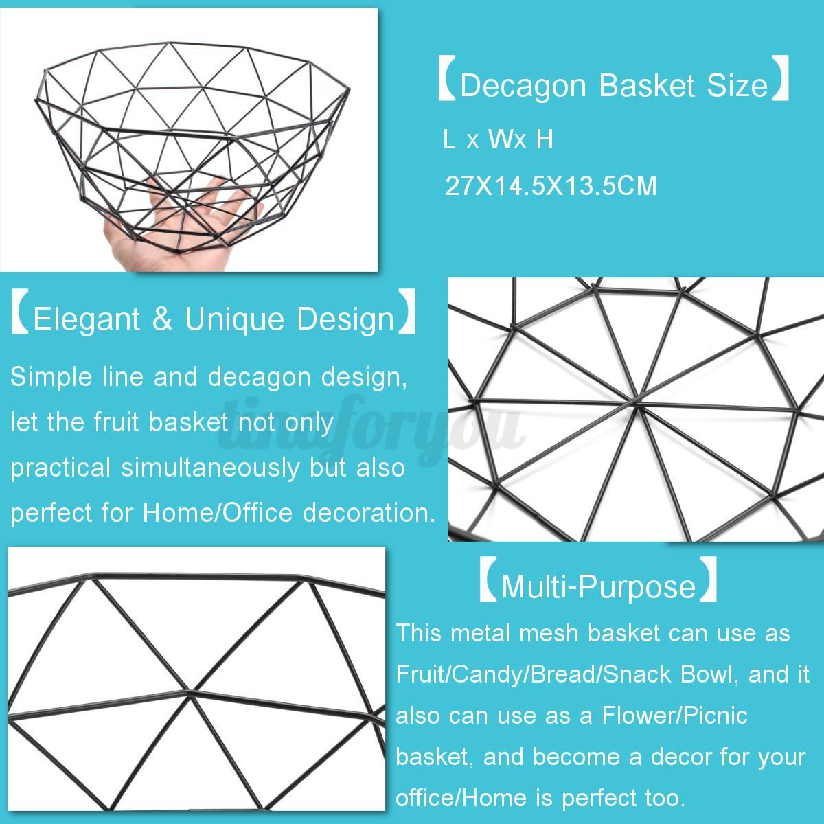 Geometric Metal Wire Decorative Storage/ Display Basket Fruit Bowl ...