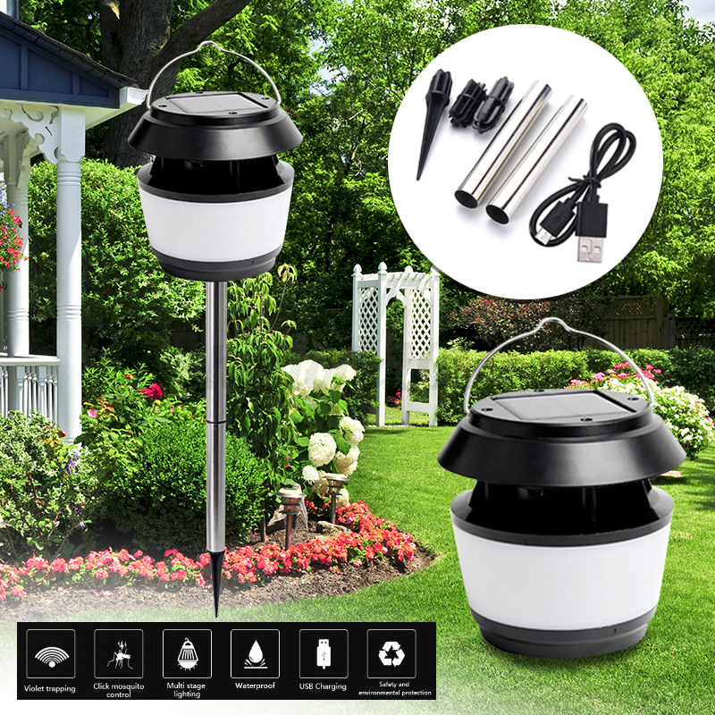 led lampe solaire r pulsif insectes anti moustique lumi re jardin ext rieur cour ebay. Black Bedroom Furniture Sets. Home Design Ideas