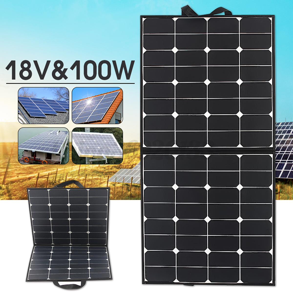 solarpanel 100w18v flexible solarmodul monokristallin f r. Black Bedroom Furniture Sets. Home Design Ideas