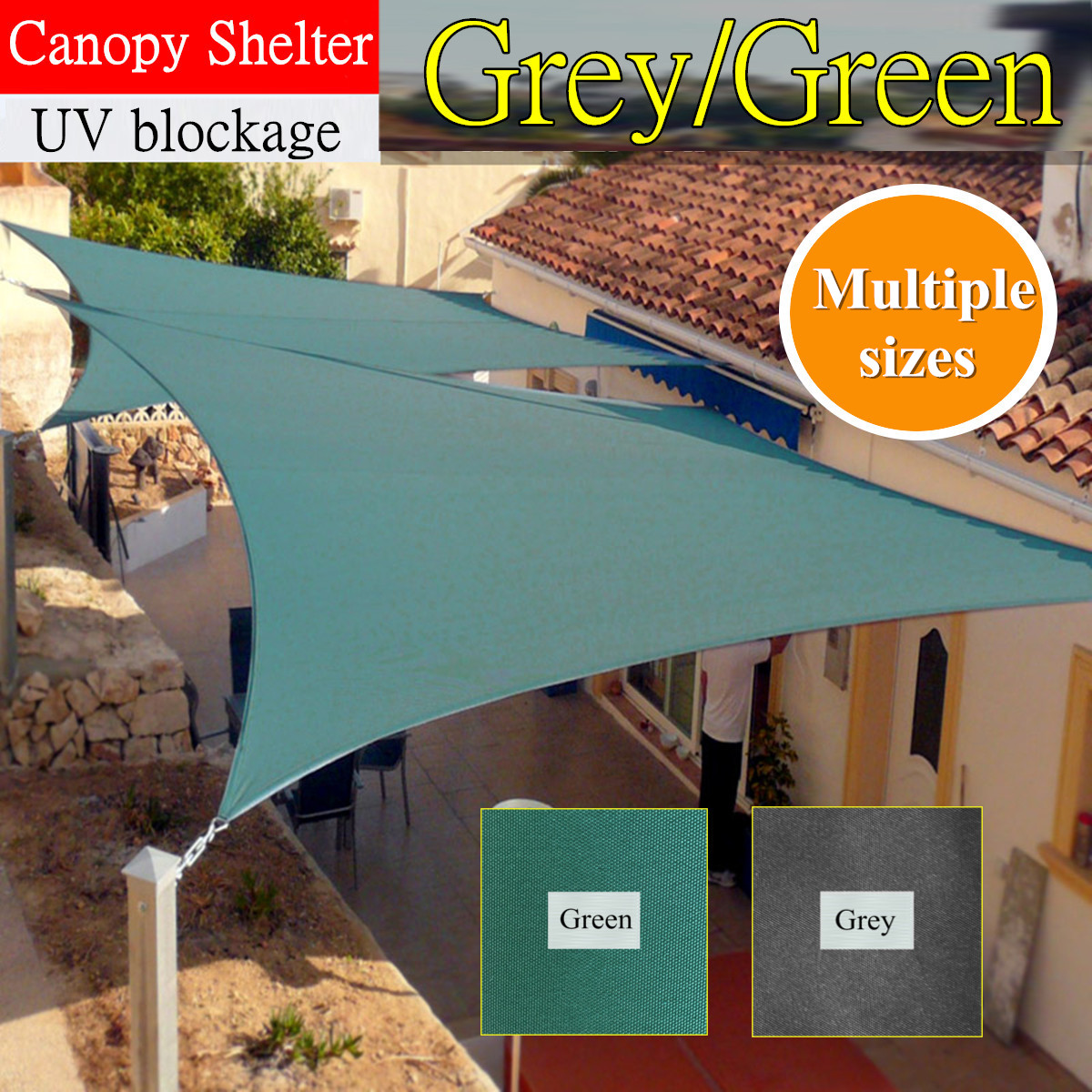 Details About Sun Shade Sail Canopy Tent Shelter Outdoor Yard Garden Patio Uv Wind Awning 23ft