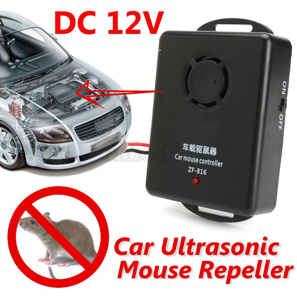 12v ultrason lectronique anti martre souris r pulsif rat voiture auto rongeur ebay. Black Bedroom Furniture Sets. Home Design Ideas