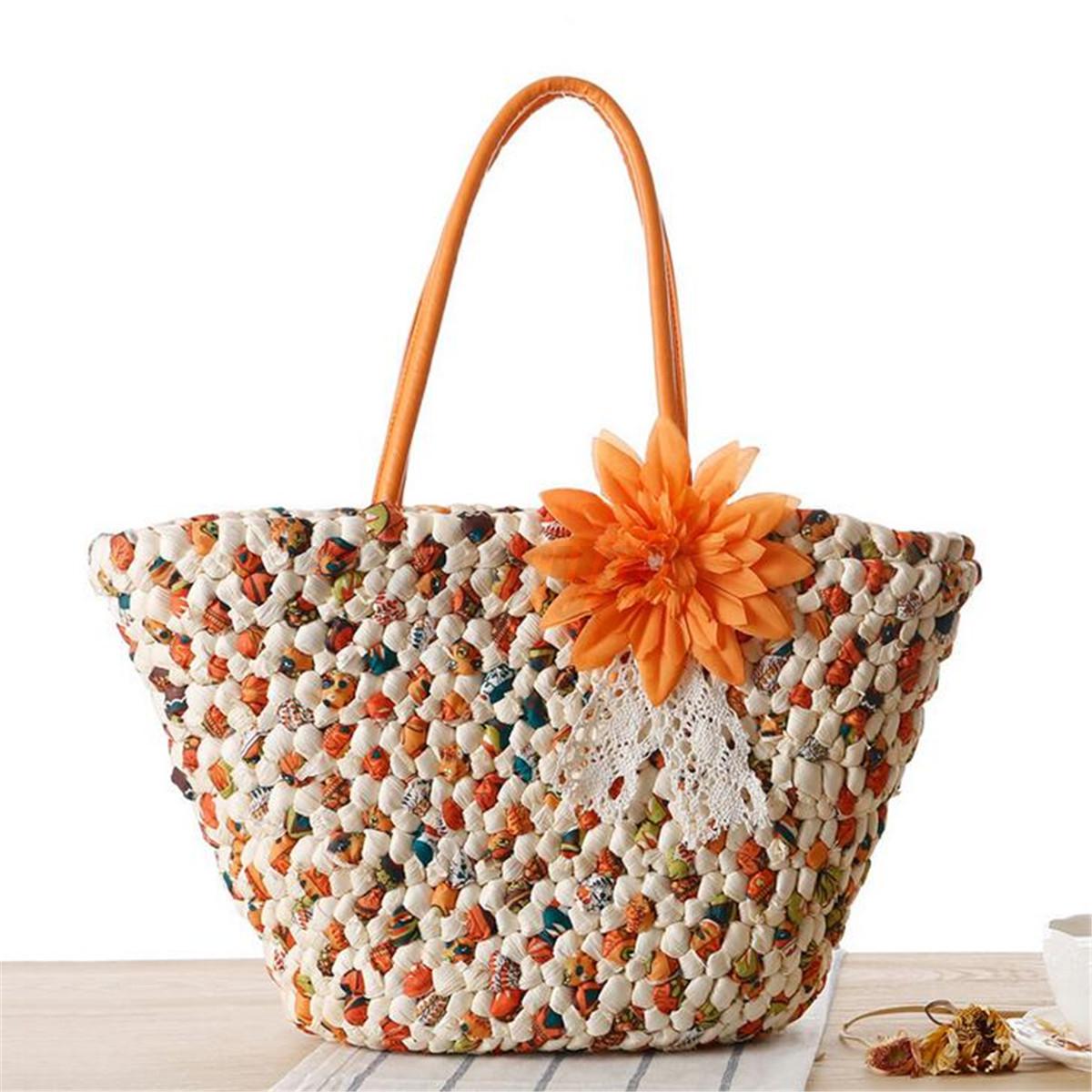 Women Ladies Straw Beach Shoulder Bag Summer Holiday Tote