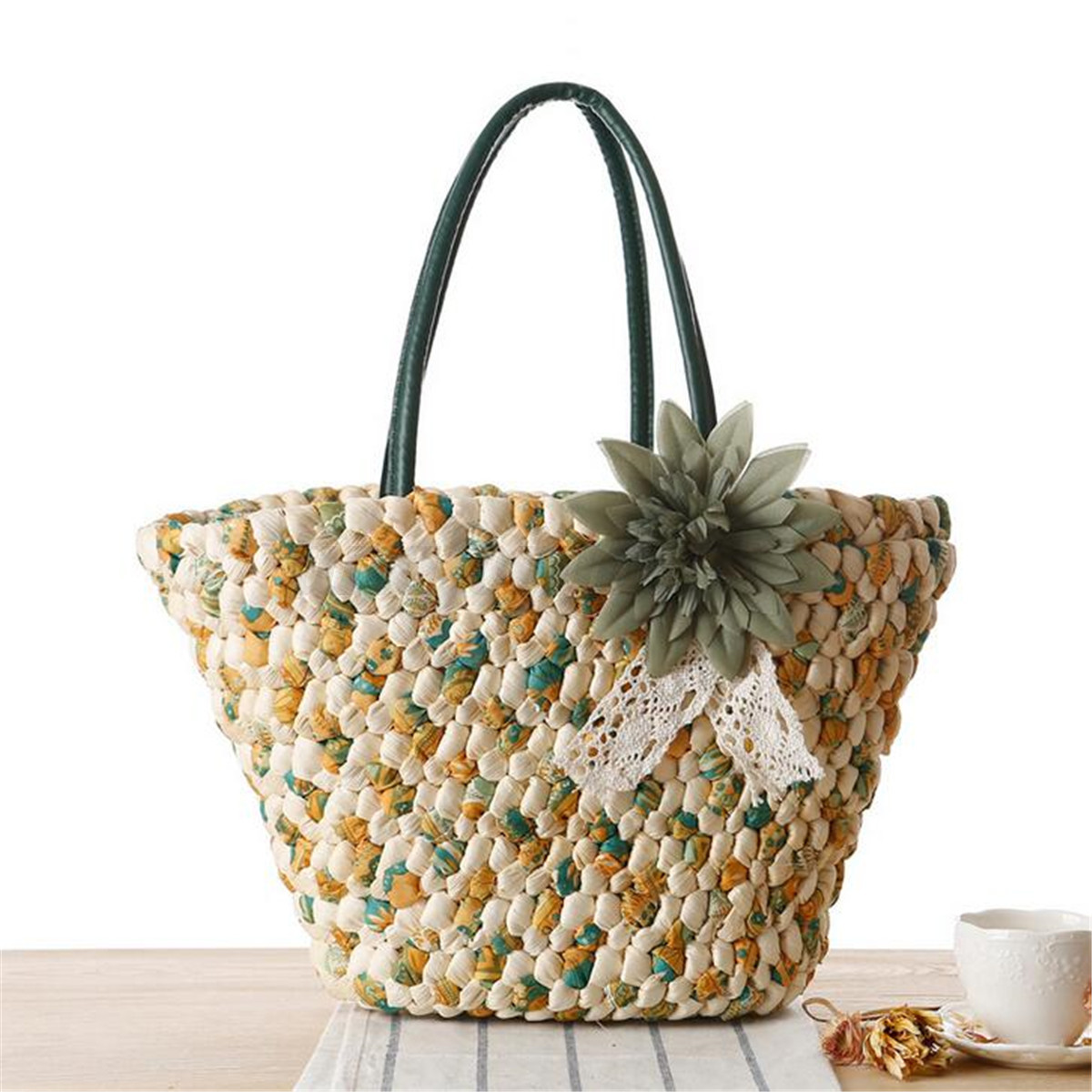Women Ladies Straw Beach Shoulder Bag Summer Holiday Tote ...