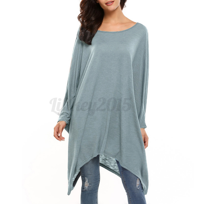 New-Women-Off-Shoulder-Long-Sleeve-Crew-Neck-T-shirt-Sweater-Blouse-Top-Pullover