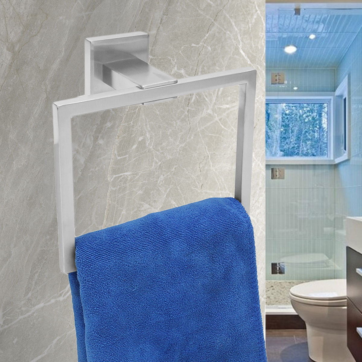 steel chrome hand towel rail holder wall mounted bathroom square rh ebay co uk