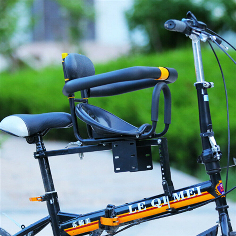 HANGHANG Bicycle Child Seat Front Mount Child Safety Carrier Front Seat with Handrail and Foot Pedals