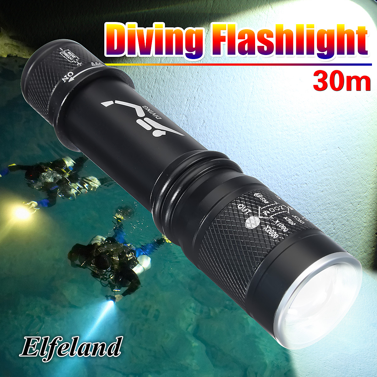Image is loading Waterproof-6000Lm-T6-LED-Scuba-Diving-Flashlight-Torch-