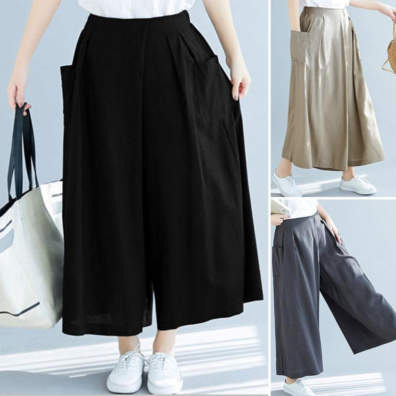 Plus Size Womens Skort Baggy Wide Leg Skirts Ladies Casual Shorts Pants UK 6-20