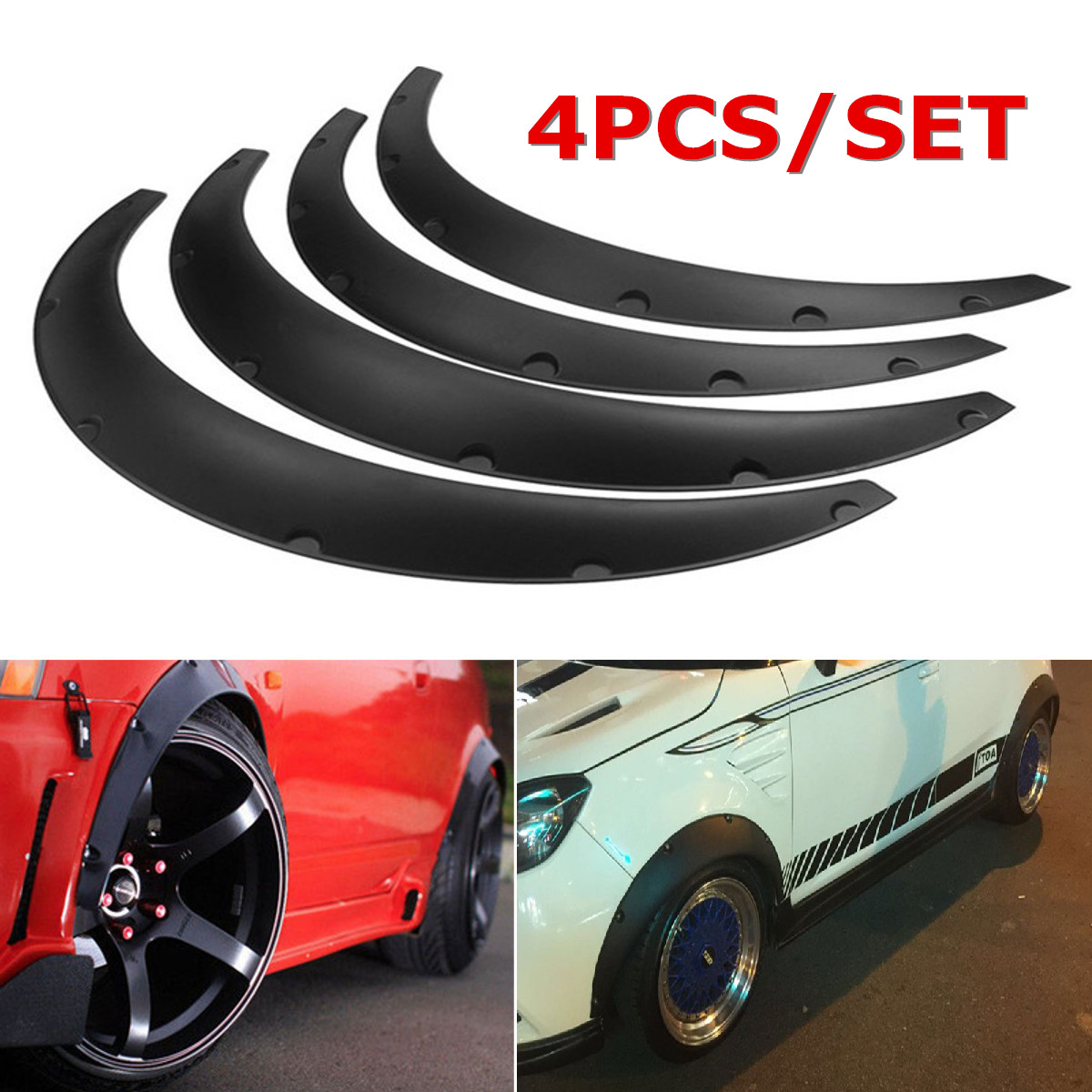 Universal Black Fender Flares Polyurethane Flexible Durable 75cm Auto Car Kit