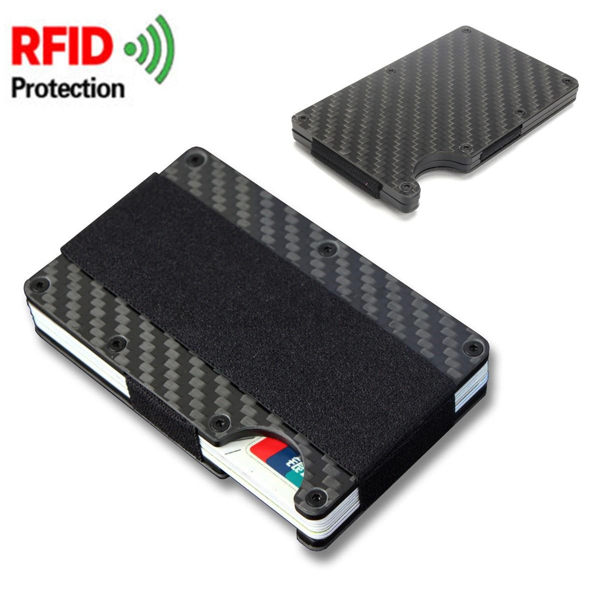 Carbon Fiber Metal RFID Blocking Slim Wallet Credit Card Holder ...