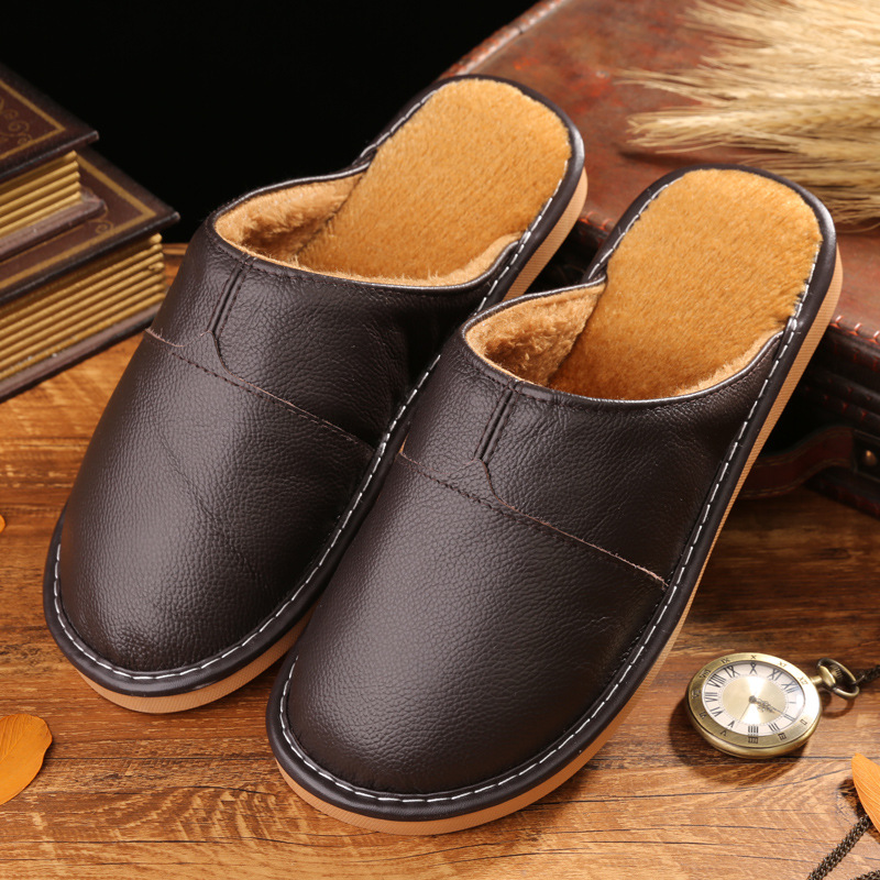 Winter Home Slippers Men Cow Leather Close Toe Lining Fur