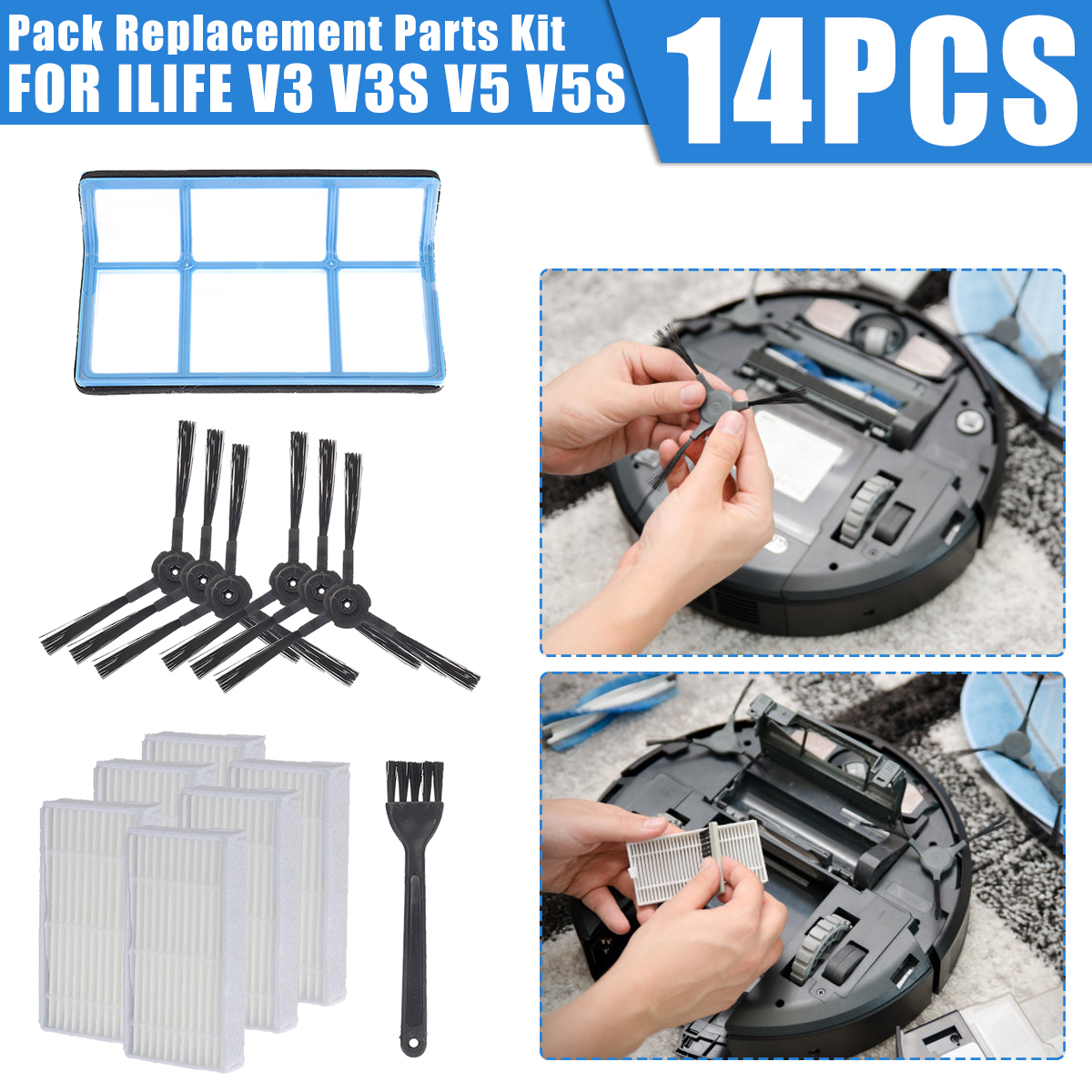 14 Pack Replacement Parts Kit For ILIFE V3 V3S V5 V5s Pro Robot Vacuum Cleaners