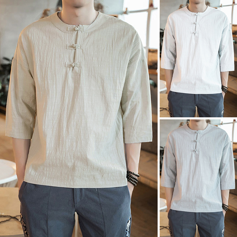 700d588a4 Men's Chinese Style Retro Cotton Linen 3/4 Sleeve Loose Fit Button ...