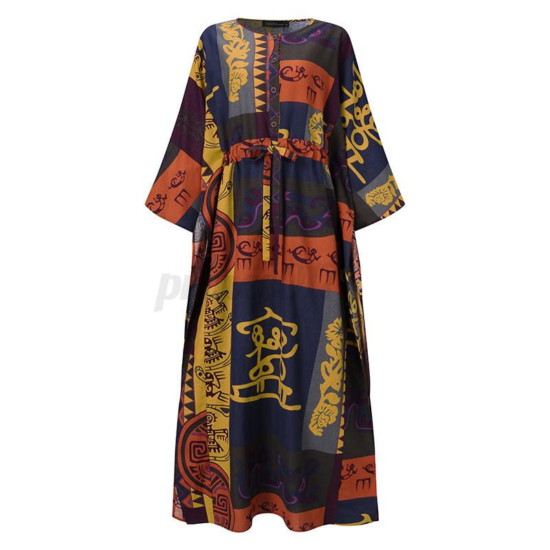 ZANZEA-Femme-Robe-Imprime-Floral-Col-Rond-Simple-Ample-Manche-Longue-Dresse-Plus miniature 4