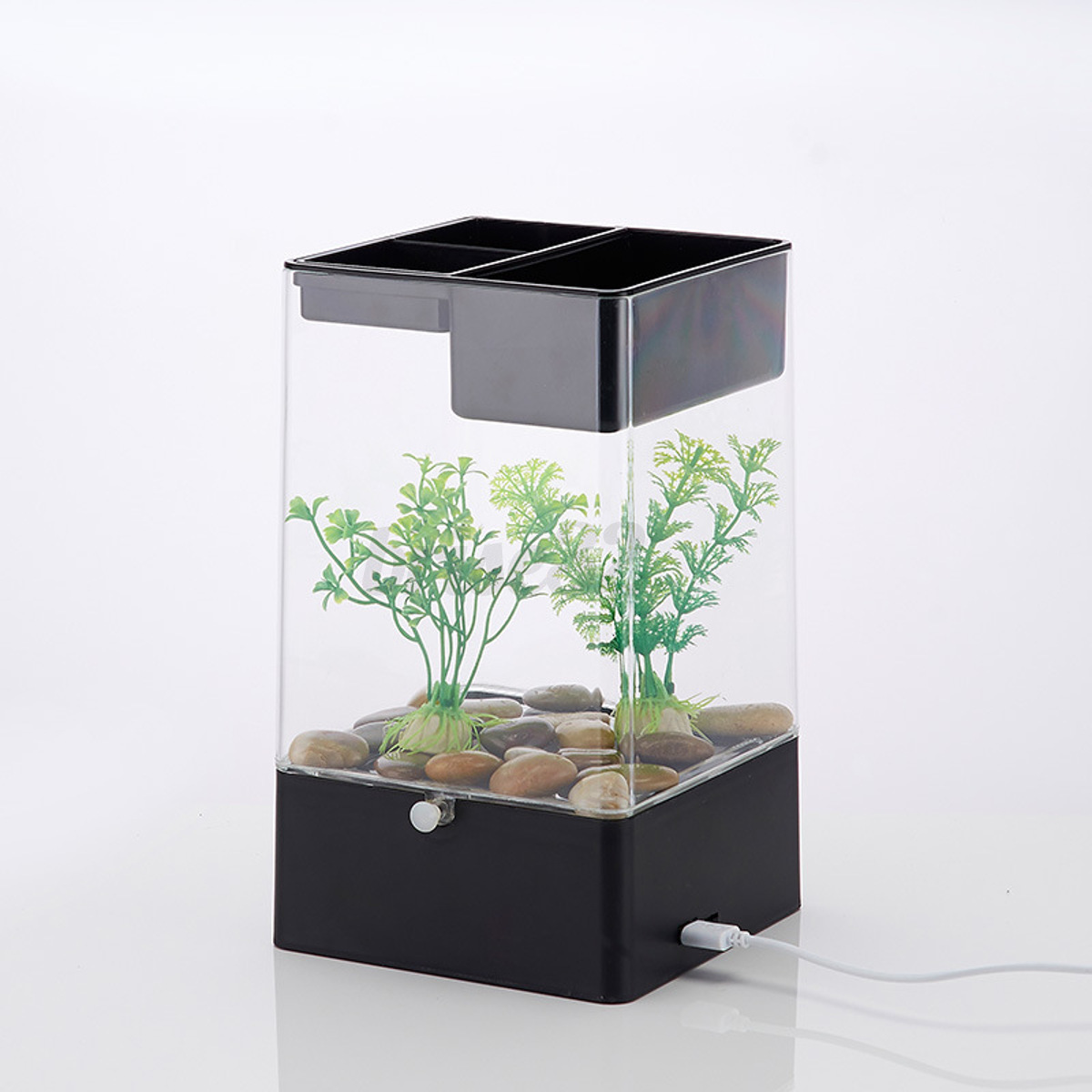 Led light square usb interface aquarium ecological office for Office fish tank