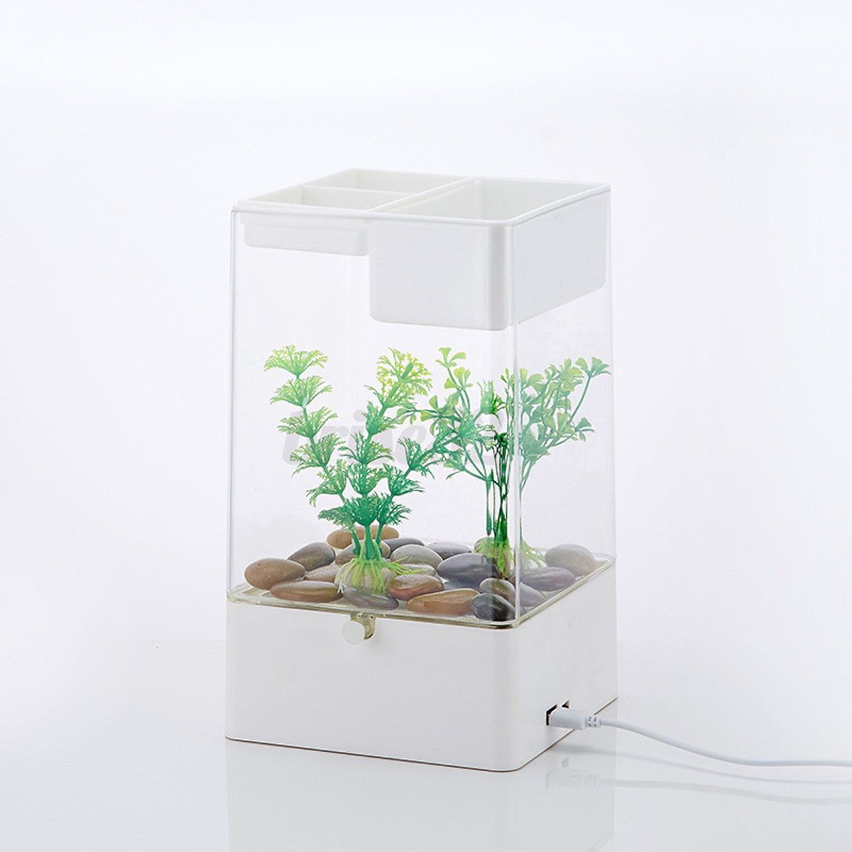 led light square usb interface aquarium ecological office desk fish tank filter ebay. Black Bedroom Furniture Sets. Home Design Ideas