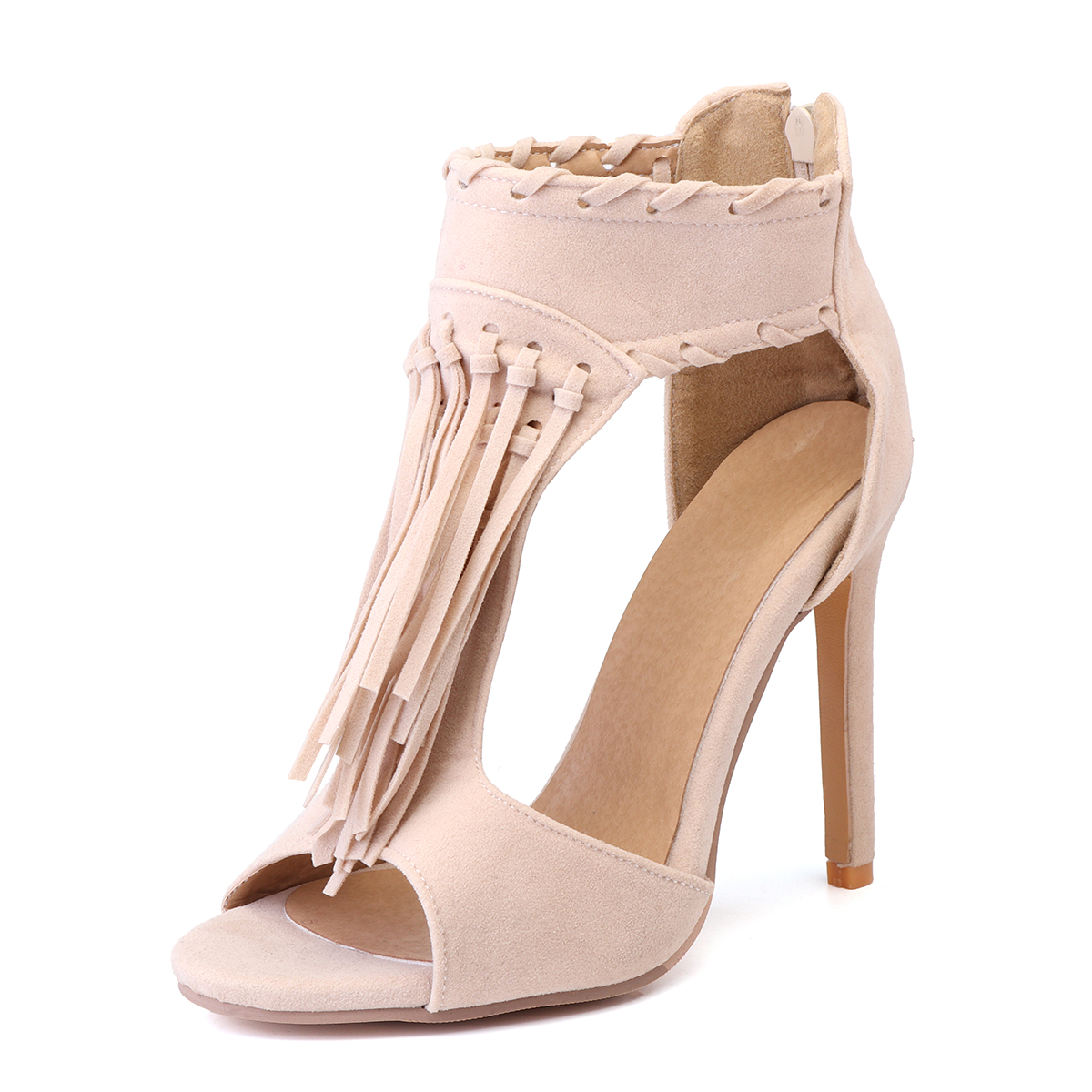 Women-Summer-Peep-Toe-Strappy-High-Heels-Tassels-Ankle-Sandals-Casual-Shoes-New