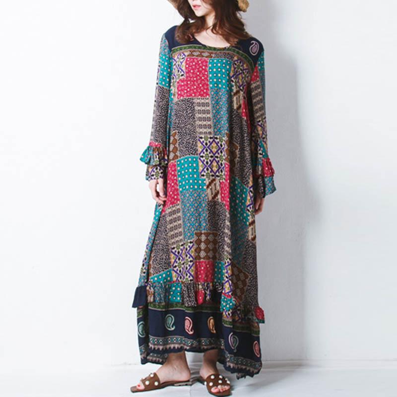 ZANZEA-8-24-Women-Plus-Size-Vintage-Boho-Kaftan-A-Line-Flared-Floral-Maxi-Dress