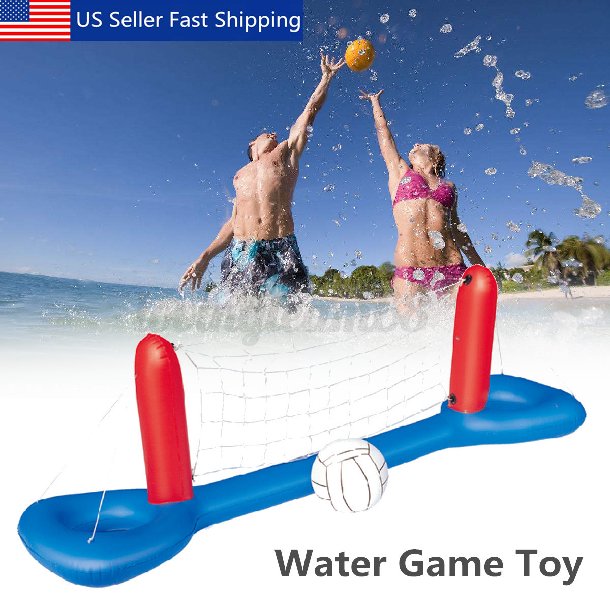 Inflatable Floating Swimming Pool Volleyball Set Net & Ball
