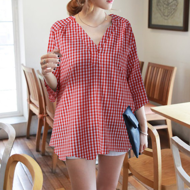 Women-Plus-Size-Casual-Check-Plaid-V-Neck-Blouse-Tee-T-Shirt-Office-OL-Work-Top