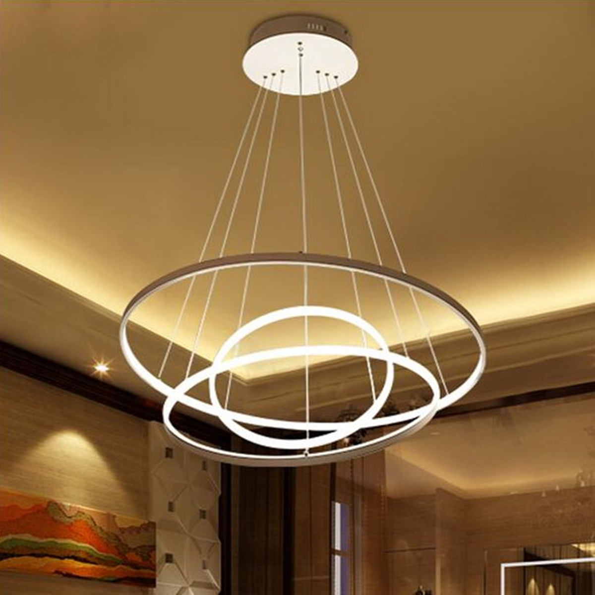 3 Circular Ring Ceiling Pendant Light Aluminum Led