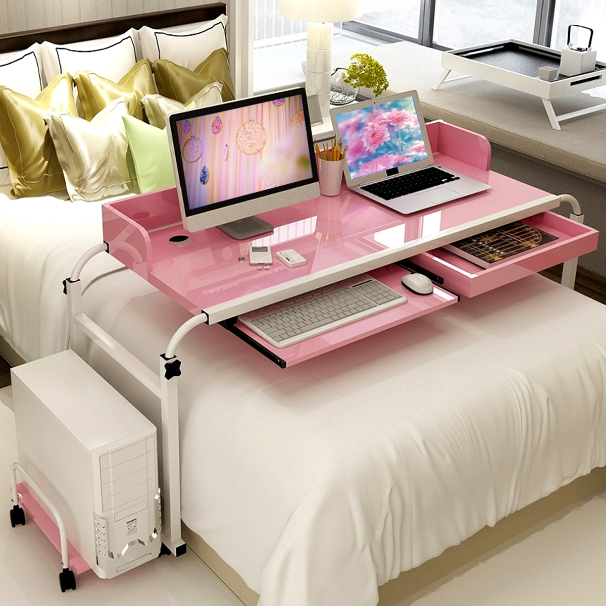 2 Person Mobile Over Bed Table Computer Desk